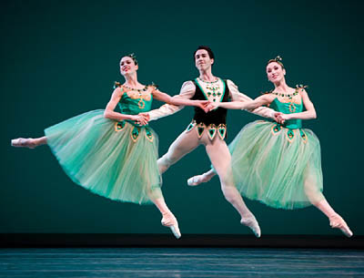 Rachel Foster, Benjamin Griffiths, and Chalnessa Eames in Emeralds. Photo © Angela Sterling