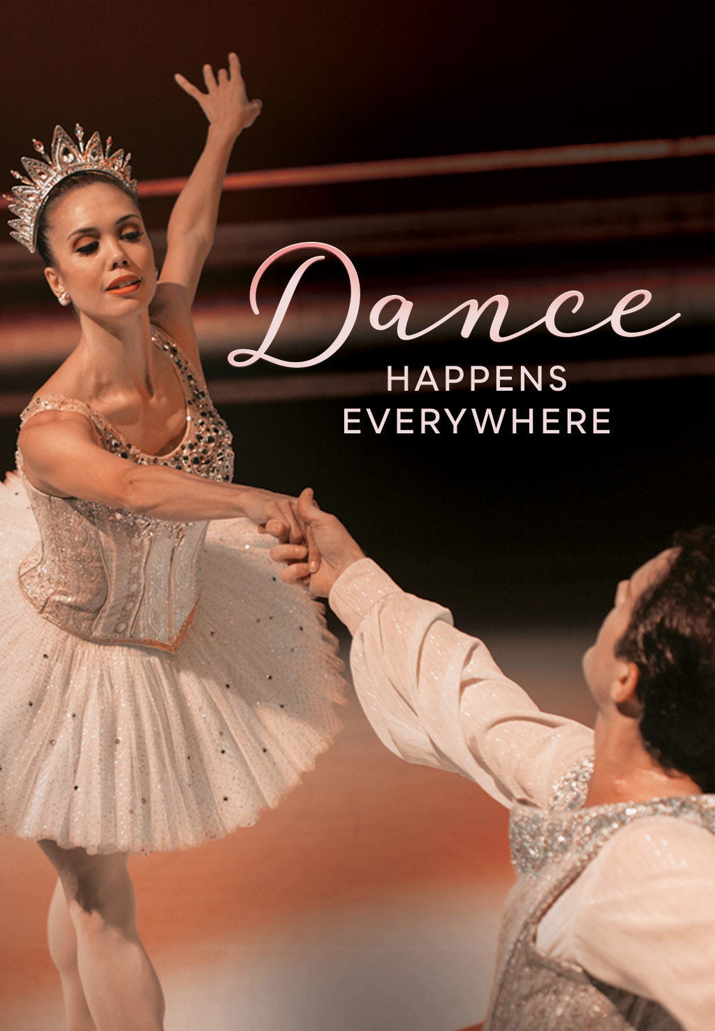 Noelani Pantastico and Seth Orza dancing in George Balanchine's Jewels with the text Dance Happens Everywhere.
