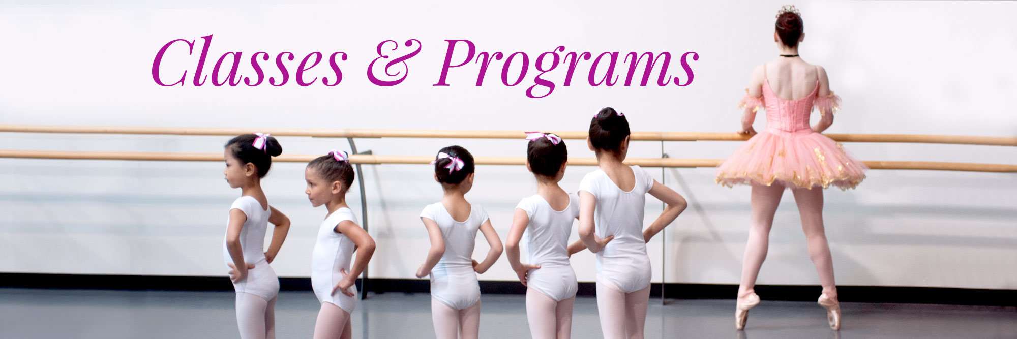 PNB School Classes and Programs. Image is of young dancers watching a ballerina in costume practice at the barre.