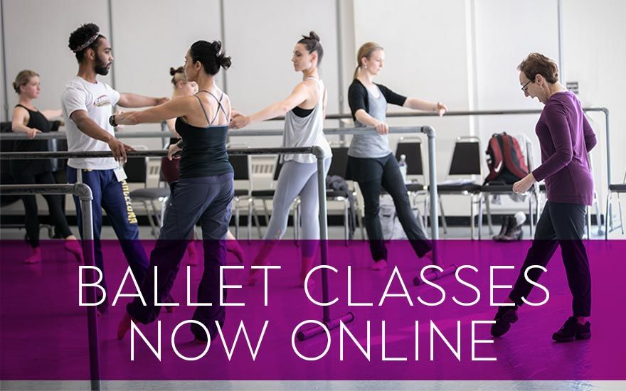 """People in a Pacific Northwest Ballet dance class in the studio, dressed in workout clothes at the barre with a teacher directing them. Transparent purple bar across bottom with white text saying """"Ballet Classes Now Online."""" Click the image to learn more."""