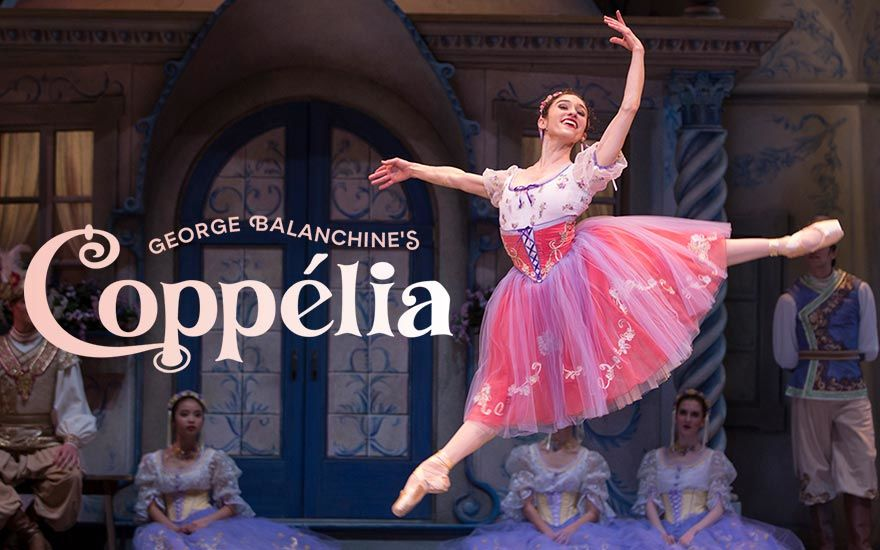 Dancer Leta Biasucci in costume, dancing on stage in Pacific Northwest Ballet's George Balanchine's Coppelia. Click to learn more and buy tickets.