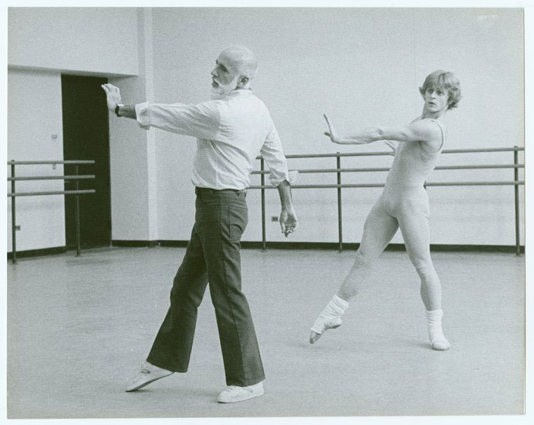 Jerome Robbins rehearsing Other Dances with Mikhail Baryshnikov. Photo © Mary Swope